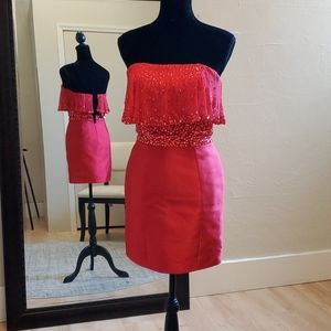 Size 2 bright red Rachel Allan two piece cocktail